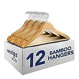 Neaties Eco-Friendly Bamboo Wood Hangers Natural Finish, 12pk