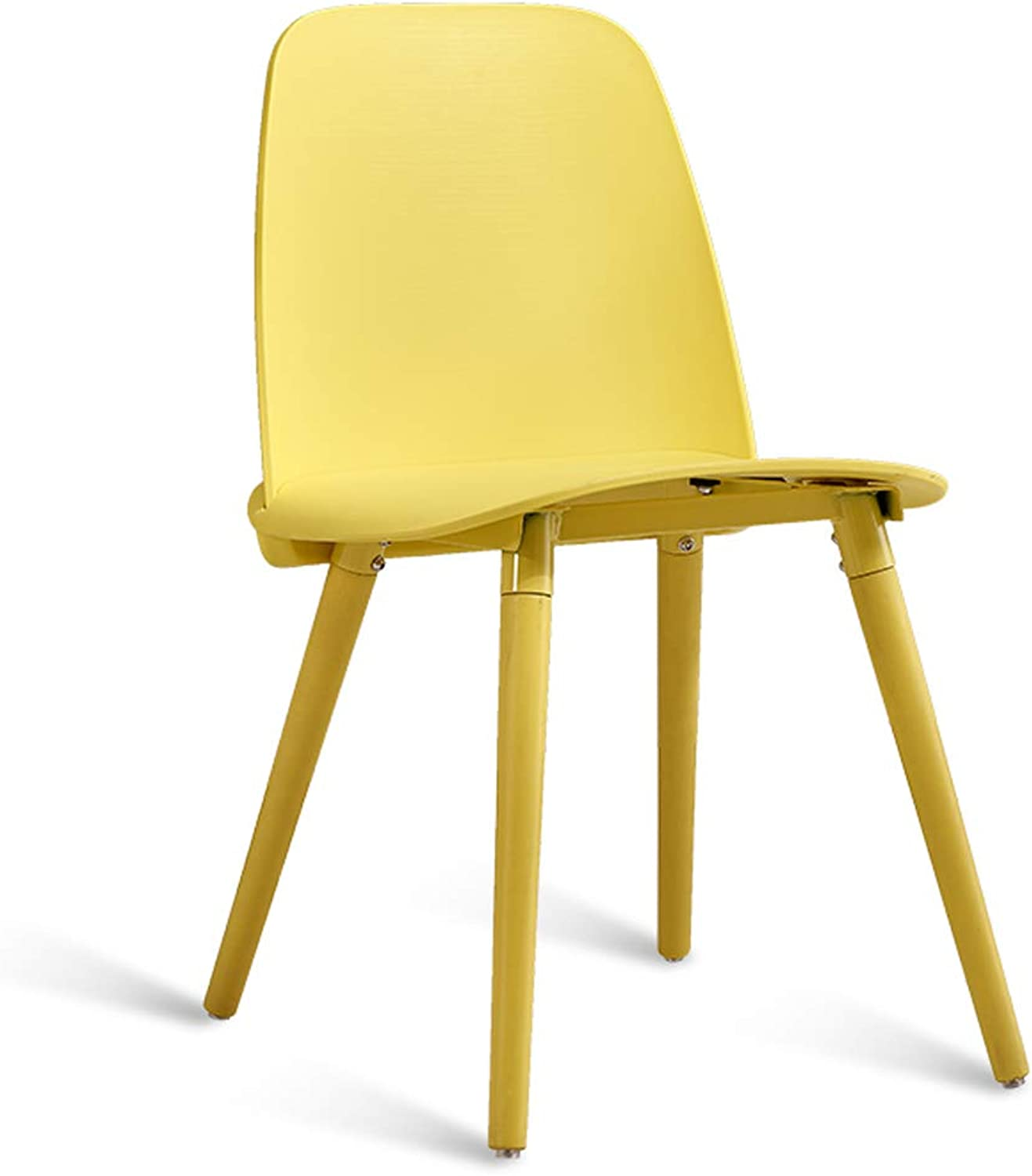 LRW Modern Fashion Chair Restaurant, Creative Dining Chair, Nordic Desk Chair, Leisure Backrest Stool, Yellow Wooden Leg