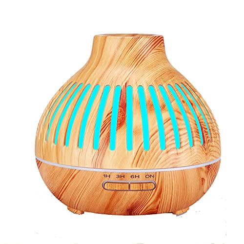 SZGR Humidificador Ultrasónico 550ml,Aceites Esenciales Difusor de Aromaterapia Control Remoto -7 Colores+4 Temporizador-para la Habitación del Bebé/SPA/Yoga/Masaje/Oficina,Brown