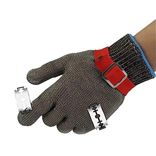 Schnittfeste Handschuhe Cut-resistente 316L-Stahlhandschuhe, Sicherheitsarbeitshandschuhe Mit Level 5-Schutz, Verwendet Für Fleischschneidschutz In Häusern Und Restaurants (Size : Large)