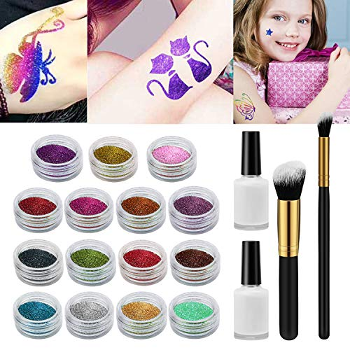 Tattoo-Kit Xpassion Temporäre Glitzer Tattoo Make Up Körper Glitzer Kunst Design für Kinder...