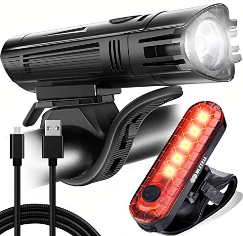 BLITZU Gator 450 Lumens Bike Lights Front and Back Set, Headlight and Tail Rear Light, USB Rechargeable Bicycle Lamp, Waterproof, LED Safety Flashlight Cycling Accessories, Fits Adult Kids MTB Helmet