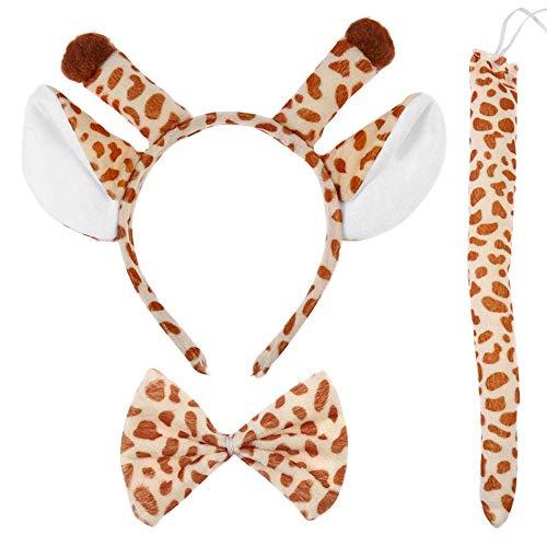 Fengzho Kerstdecoratie kostuum giraffe oren haarband staart kostuum set dierkostuum vlinderdas voor Halloween Party Cosplay