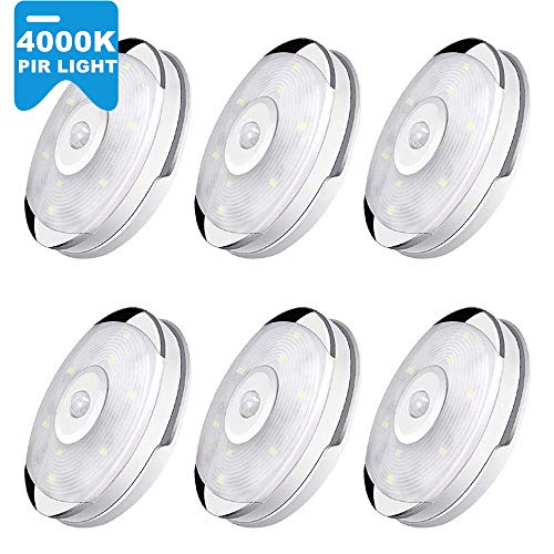 Motion Sensor Light, Cordless Battery-Powered LED Night Light, Stick Anywhere with No Tools, Decorate Closet Lights, Safe Lights for Stairs, Hallway, Bathroom, Kitchen, Cabinet (6 Pack)