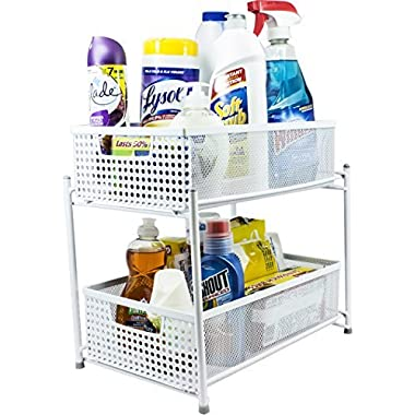 Sorbus 2 Tier Organizer Baskets with Mesh Sliding Drawers, White