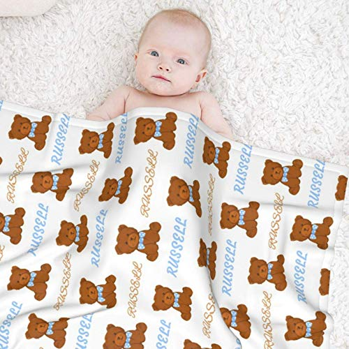 Personalized Baby Blanket with Name, Custom Baby Blanket for Baby Kids, Light Weight Little Bear Cozy Flannel Blanket for Unisex Newborn Baby Girl Boy 30×40 in