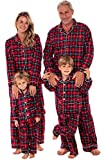 (Product) RED Kids Flannel Button Down Pajama Set, Long Cotton Pjs for Boys and Girls, 3T Blue Red and Green Plaid (A0441Q193T)