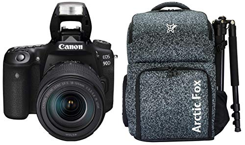 """Canon EOS 90D Digital SLR Camera with 18-135 is USM Lens with 16GB Card + Arctic Fox Camera Bag with Lens, 15.5"""" Laptop & Tripod Holder"""