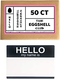 Black Hello My Name is | Premium Eggshell Sticker Blanks | 50 Pack | Sun-Proof UV Ink | Weather Resistant | Quick & Easy Peel | Different Designs Available