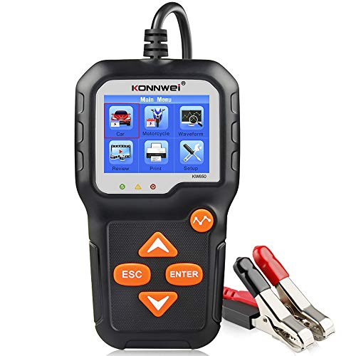 KONNWEI KW650 6V 12V Car Battery Tester, 100-2000 CCA Battery Load Tester Automotive Battery and Alternator Tester for Vehicles/Marine/Motorcycle/Lawn Mover