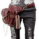FiveloveTwo Men Women Steampunk Fanny Packs Multi-purpose Tactical Drop Leg Arm Bag Pack Hip Belt Waist Messenger Shoulder Bag Wallet Purse Pouch Red Brown