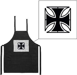 Mygoodprice Delantal Negro de Cocina Barbacoa Cruz de Malta Imprimé