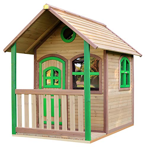 AXI Alex Maison Enfant en Bois FSC | Maison de Jeux pour l'extérieur / Jardin en marron & vert | Maisonnette / Cabane de Jeu avec des fenêtres & Véranda