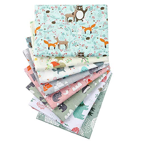 Hanjunzhao Cute Animals Print Quilting Fabric, Pre-Cut Fat Quarters Fabric Bundles for Quilting Sewing,18 x 22 inches