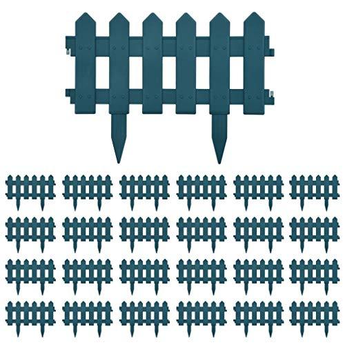 vidaXL 25x Rasenkante Beetumrandung Beeteinfassung Raseneinfassung Zierzaun Zaun Ziergitter Beetzaun Beetabgrenzung Beet Einfassung Grün 10m PP