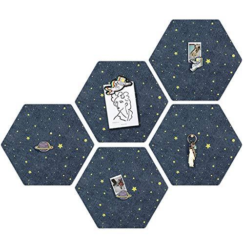 DMFSHI Tablero de Corcho, Corcho Pared, Tablero de Corcho de Fondo de Cielo Estrellado, para Decoración de Paredes del Hogar, Colgar Fotos y Tableros de Anuncios de Oficina (5 PCS)