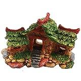 U/K Acuario creativo de resina, tres casas, peces, escondidos, nido, nido, decoración elegante y popular