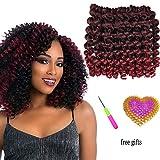 AliRobam 6Packs 8Inch Jumpy Wand Curl Jamaican Bounce Crochet Braids 20Roots African Ombre Kanekalon Synthetic Crochet Braiding Hair Extensions For Black Women (TBUG)