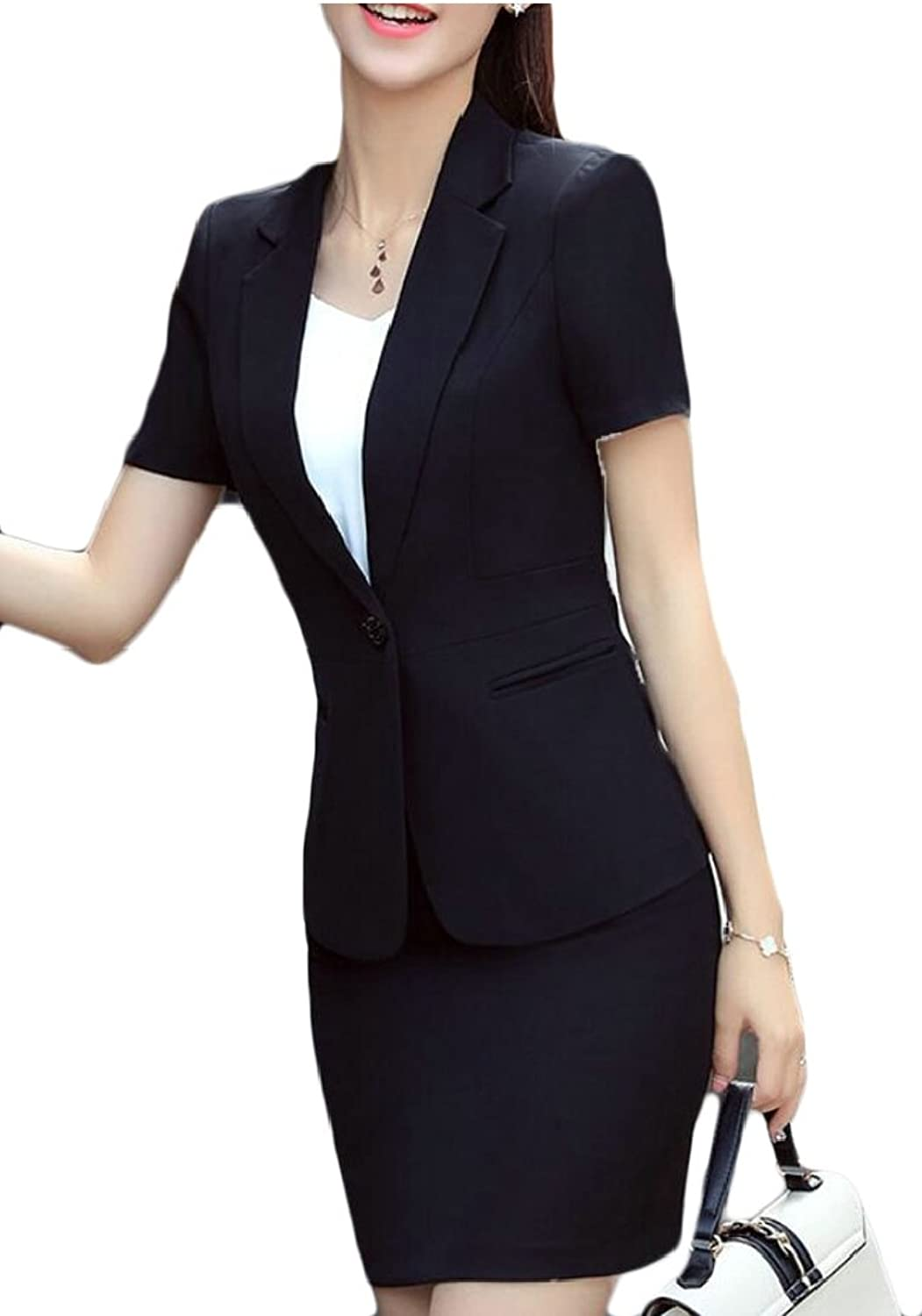 Jxfd Womens Wear to Work Solid Skirt Suit Set