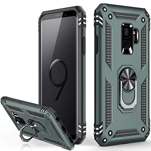 Galaxy S9 Case,Military Grade 16ft. Drop Tested Dual Layered Heavy Duty Cover with Magnetic Ring Kickstand Compatible with Car Mount Holder,Protective Phone Case for Samsung Galaxy S9 Pine Green
