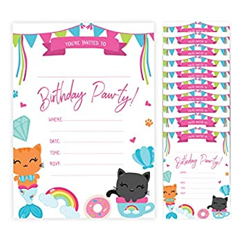 Cat Style 2 Kitten Kitty Happy Birthday Invitations Invite Cards  10 Count  With Envelopes Boys Girls Kids Party  10ct