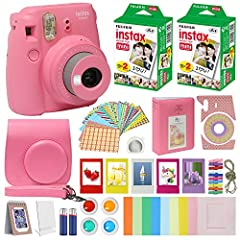 Includes FujiFilm Instax mini 9 Camera Flamingo Pink, The FujiFilm Instax mini 9 Camera Smokey White features a Fujinon 60mm f/12.7 Lens, Optical 0.37x Real Image Viewfinder, Auto Exposure with Manual Switching and a Built-In Flash. Turn the brightne...