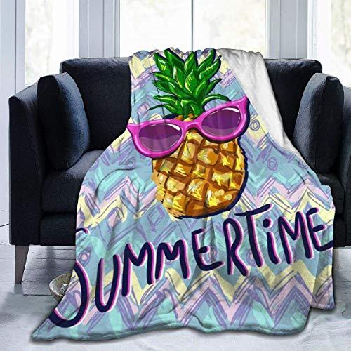Manta de franela tropical con gafas de sol, ligera y acogedora, manta suave para sofá, apta para todas las estaciones de 152 x 203 cm, para niños, mujeres y hombres