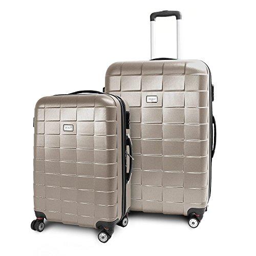 BERWIN® Kofferset L + XL 2-teilig Reisekoffer Trolley Hartschalenkoffer ABS Teleskopgriff Modell Squares (Champagne)