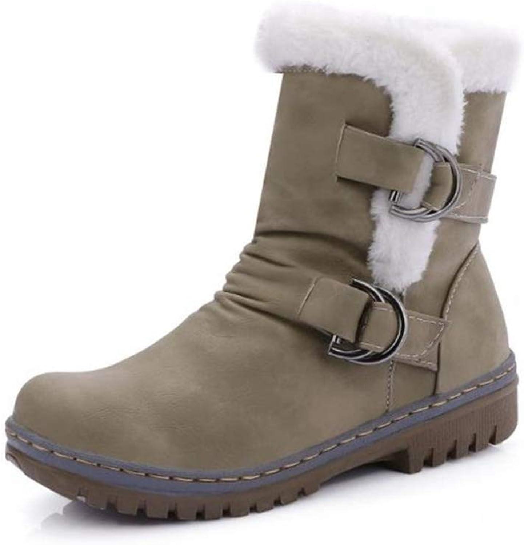 T-JULY Winter Women Mid Calf Snow Boots Plus Velvet Belt Buckle Martin Non-Slip Cotton shoes