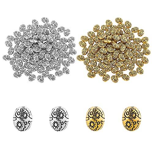 SUPERFINDINGSobre 200pcs 2 Colores 8 mm Estilo Tibetano Cuentas de Aleación Separadores Sueltos Ovalados Hallazgos de Joyería Accesorios para Pulsera Collar Fabricación de Joyas