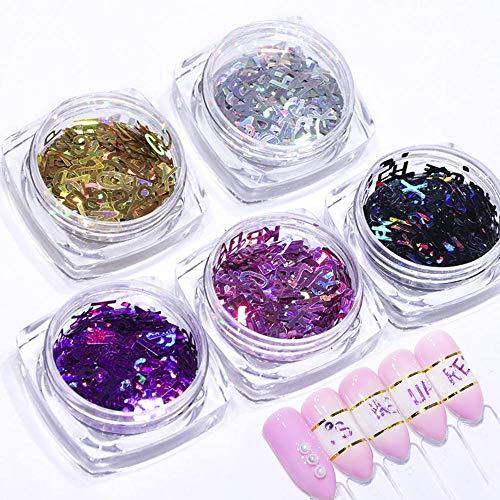 Lentejuelas 3D con purpurina, 5 cajas holográficas, láser inglés, alfabeto, lentejuelas, uñas brillantes, copos de manicura y decoración de uñas, puntas de purpurina doradas y moradas