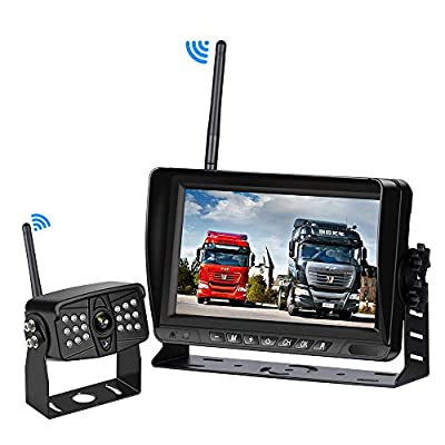 SAMFIWI Wireless Backup Camera System Kit Built in DVR with Stable Digital Signal 7'' HD LCD Monitor and Waterproof Infrared Night Vision Rear View Camera for Truck/Trailer/RV/Pickups/Camping Car/Van