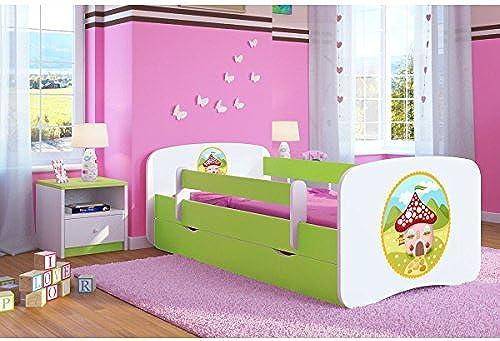 CARELLIA 'Kinderbett H chen 80 180cm   mit Barriere Sicherheitsschuhe + Lattenrost + Schubladen + Matratze Ofürt. LimettenGrün