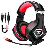 FISHOAKY Auriculares Gaming para PS4, Cascos Gaming Premium Stereo con Micrófono, Cancelación de Ruido, Gaming Headset con 3.5mm Jack RGB LED con Control de Volumen para PC/Xbox One/Nintendo Switch