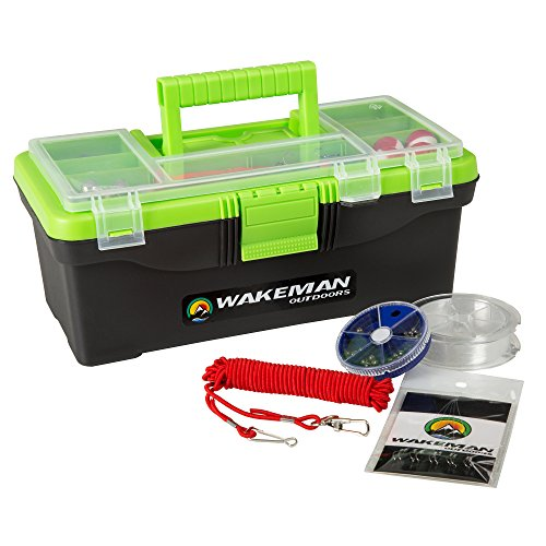 Fishing Single Tray Tackle Box- 55 Piece Tackle Gear Kit Includes Sinkers, Hooks Lures Bobbers Swivels and Fishing Line By Wakeman Outdoors Lime Green
