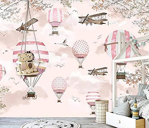 Life Accessories Customize photo wallpaper mural personality Pink cartoon hot air balloon children's wall decorative 3d wallpaper 200x140 cm (78.7 by 55.1 in)