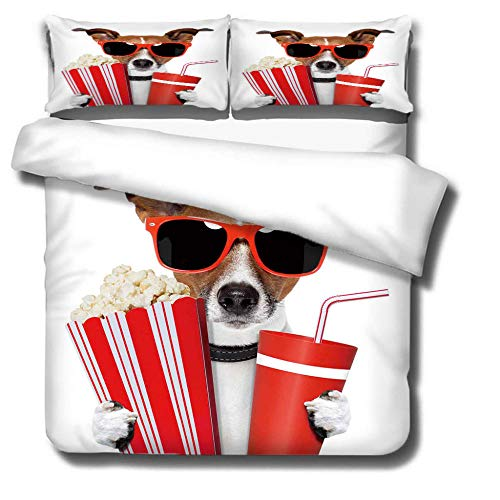 Bedding Movie dog Trendy 3D print pattern 3 pieces Super King Duvet Cover Set Microfiber Durable Fade Resistant Fabric Soft Hypoallergenic Easy Care-180x200cm