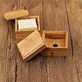 JXD 1 Pc Wooden Bamboo Soap Dishes Tray Holder For Bathroom Storage Soap Rack Plate Container Portable Soap Dish,Wooden