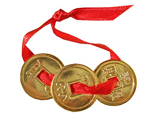 3 piezas de moneda, dorado Feng Shui oro de 24 quilates y cinta