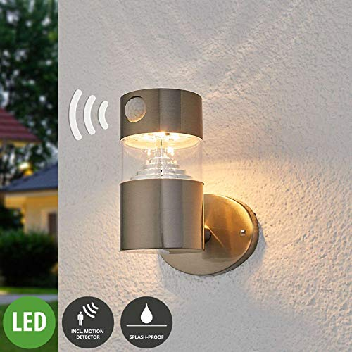 Lindby LED Solarleuchte außen 'Kalypso' mit Bewegungsmelder (spritzwassergeschützt) (Modern) in Alu aus Edelstahl (1 flammig, A+, inkl. Leuchtmittel) - Solar-Wandleuchten, Wandlampe für Outdoor &
