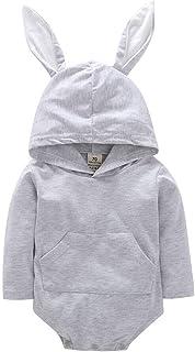 الوليد الوليد القطن السروال القصير الطفل بنين بنات داخلية لطيف أرنب jumsuitsclothes 0-2 سنوات (Color : Gray, Kid Size : 24M)