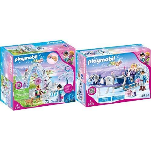 PLAYMOBIL 9471 Spielzeug-Kristalltor zur Winterwelt, Unisex-Kinder & 9474 Spielzeug-Schlitten mit Königspaar, Unisex-Kinder