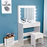 (US Fast Shipment) Elegant Makeup Table Vanity Set with Lighted Mirror 12 Cool LED Bulbs, Makeup Vanity Dressing Table Dresser Desk with Large Drawer for Bedroom Furniture (White)