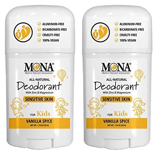 MONA BRANDS 100% Natural Deodorant for Kids | For Girls & Boys | Sensitive Skin | No Baking Soda | No Aluminum | Vegan, Non-GMO, Gluten & Cruelty free | (2-Pack Vanilla Spice, Full Size (1.76 oz.))