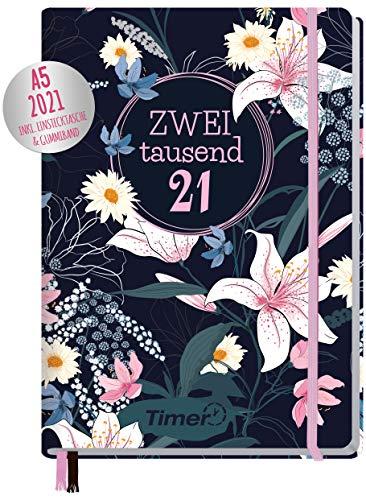 Chäff-Timer Premium Kalender 2021 A5 [Dark Flower] Terminplaner, Terminkalender, Wochenplaner, Wochenkalender, Organizer mit Gummiband und Einstecktasche | nachhaltig & klimaneutral
