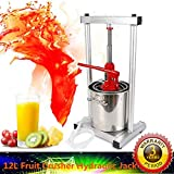 12L Fruit Crusher Pulp Apple Cider 304 Stainless Steel Wine Juice Press Grinder Hydraulic Grinder for Kitchen Vegetable and Fruit Lovers (UPGRADED Version)