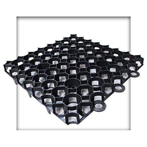 Kieskönig Rasengitter 50x50x4 cm schwarz Rasengitterplatten Rasenwaben Rasenmatten mit Bodenkreuzen Bodenwaben 40 Stück (10 m²)