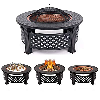 INMOZATA 3 in 1 Fire Pit Round with BBQ Grill Shelf for Garden Patio, Outdoor Metal Brazier Firepit Heater/BBQ/Ice Pit by INMOZATA