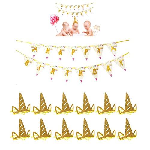 LUOEM 3M Feliz CUMPLEAÑOS Unicornio Banderín Banner Set 12pcs Unicornio Cumpleaños Sombrero Fiesta Decoraciones