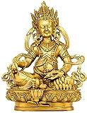 ASDF Feng Shui - Figura decorativa de latón con texto en inglés 'Dios de la riqueza', diseño de Buda indio de riqueza y buena suerte, latón